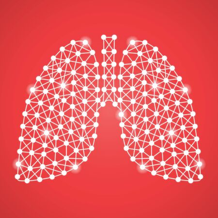 Human Lungs Isolated On A Red Background. Vector Illustration.Pulmonology. Creative Medical Concept Stock Photo