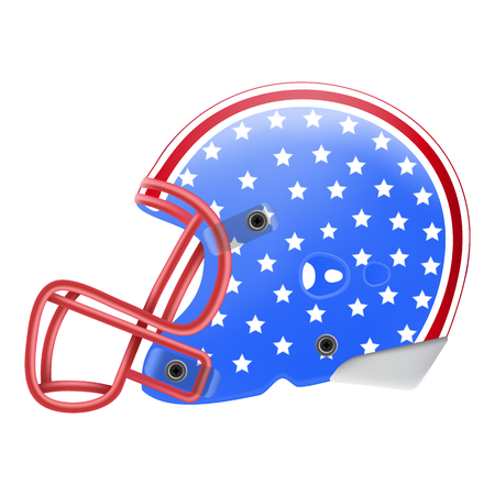 Blue American Football Helmet With Stars Side View. American Flag Isolated On A White Background. Vector Illustration. American Football Equipment