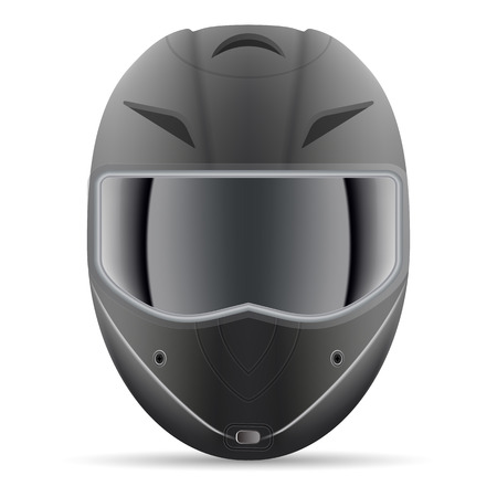 Casque de moto noir. Vue de face isolée sur fond blanc. Illustration vectorielle. Concept Sport
