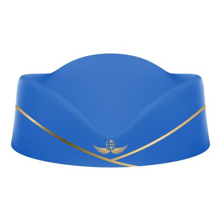 Blaue Stewardess Uniform Cap Auf Einem Weißen Hintergrund. Vektor-Illustration Zivilflugverkehr und Luftverkehr Vektorgrafik