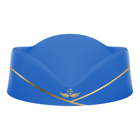 Blue Stewardess Uniform Cap Isolated On A White Background. Vector Illustration.Civil Aviation And Air Transport Vetores