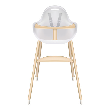 Baby High Chair With Seat Belts Isolated On A White Background. Vector Illustration. Products For Children Illustration