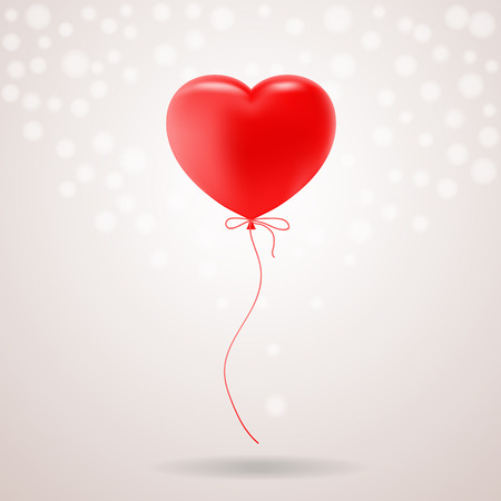 Red Festive Balloon In Shape Of Heart Isolated On A Background. Vector Illustration. Realistic Decorations Illustration