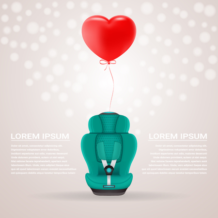 Green Child Car Seat With Red Baloon In Shape Of Heart Isolated On A Background. Vector Illustration. Products For Children