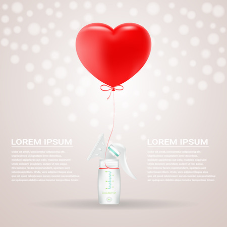 Manual Breast Pump To Increase Milk Supply For Breastfeeding Mother And Child Feeding Bottle With Breastmilk Isolated On A Background. Vector Illustration. Products For Children