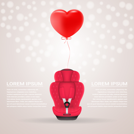 Red Child Car Seat With Red Baloon In Shape Of Heart Isolated On A Background. Vector Illustration. Products For Children