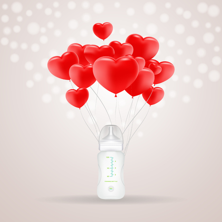 two: Baby Milk Bottle With Red Baloons In Shape Of Heart Isolated On A Background. Vector Illustration. Products For Children