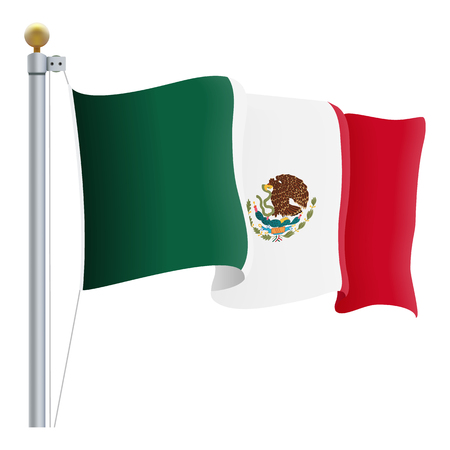 Waving Mexico Flag Isolated On A White Background. Vector Illustration. Official Colors And Proportion. Independence Day Illustration