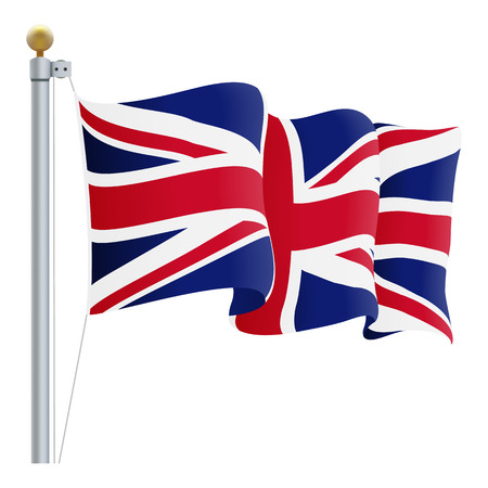 Waving United Kingdom Flag. UK Flag Isolated On A White Background Vector Illustration. Official Colors And Proportion Independence Day