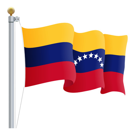 venezuelan flag: Waving Venezuela Flag Isolated On A White Background Vector Illustration. Official Colors And Proportion Independence Day Illustration