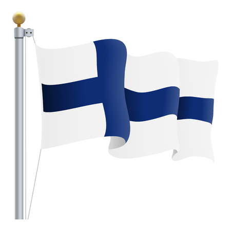 Waving Finland Flag Isolated On A White Background. Vector Illustration. Official Colors And Proportion. Independence Day