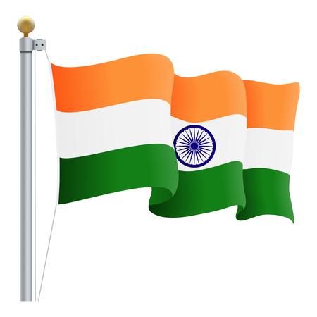 Waving India Flag Isolated On A White Background. Vector Illustration. Official Colors And Proportion. Independence Day
