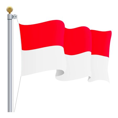 Waving Indonesia Flag Isolated On A White Background. Vector Illustration. Official Colors And Proportion. Independence Day Illustration