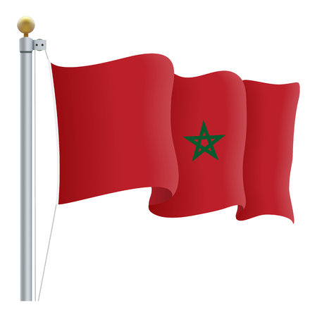 nationalist: Waving Morocco Flag Illustration