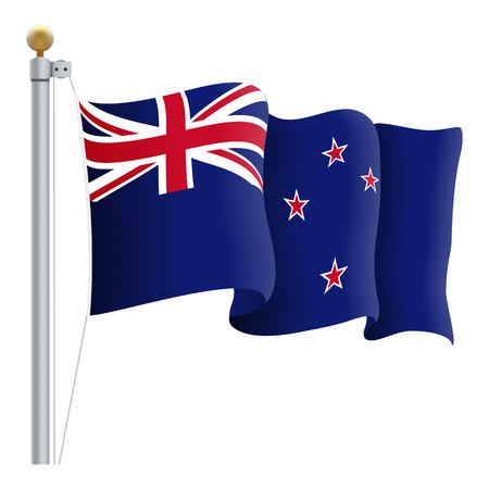 Waving New Zealand Flag Illustration