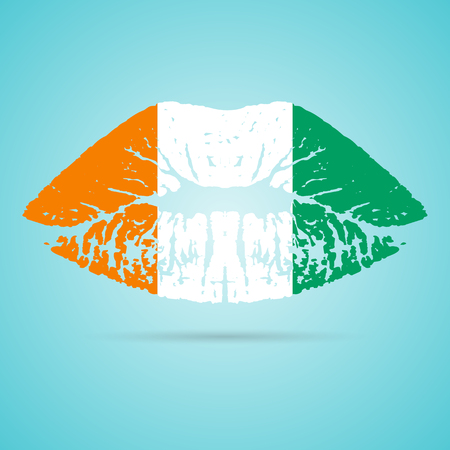 Cote D Ivoire Flag Lipstick On The Lips Illustration