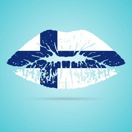 Finland Flag Lipstick On The Lips Ilustração