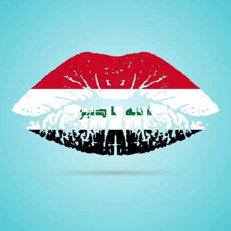 solemn: Iraq Flag Lipstick On The Lips Illustration