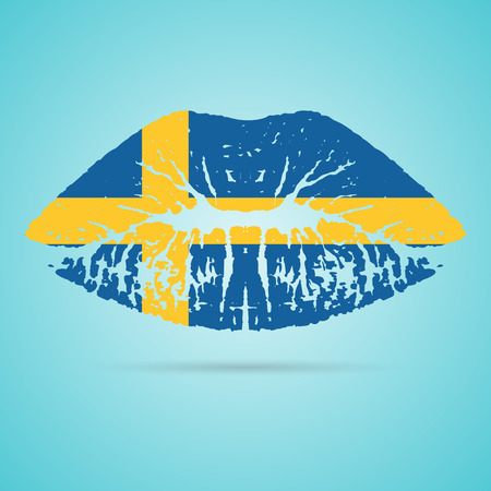 Sweden Flag Lipstick On The Lips Illustration