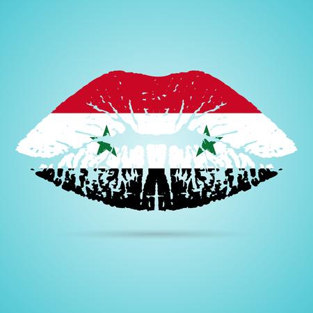 Syria Flag Lipstick On The Lips Ilustração