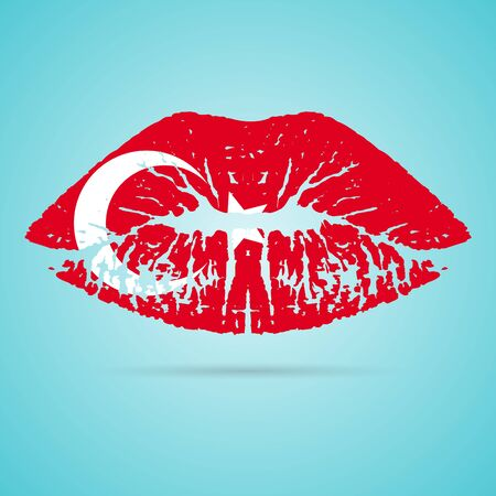 Turkey Flag Lipstick On The Lips
