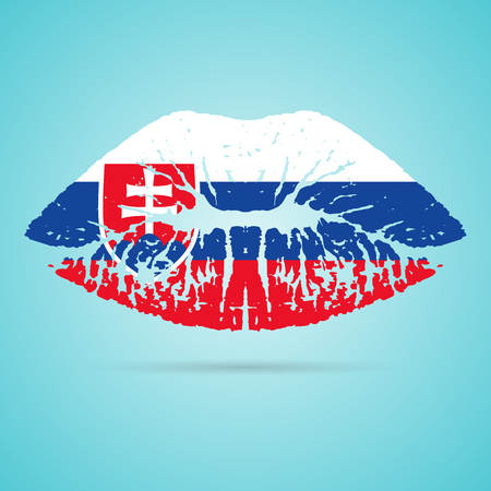 Slovakia Flag Lipstick On The Lips Illustration