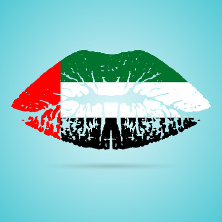 United Arab Emirates Flag Lipstick On The Lips