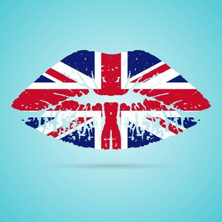 british culture: United Kingdom Flag Lipstick On The Lips