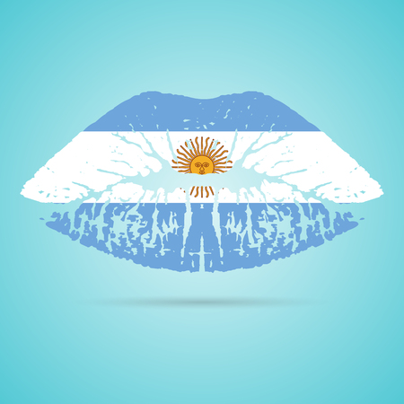 Argentina Flag Lipstick On The Lips