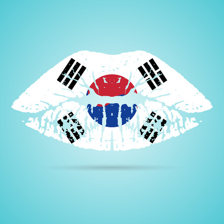 South Korea Flag Lipstick On The Lips Isolated On A White Background. Vector Illustration. Kiss Mark In Official Colors And Proportions. Independence Day Illustration
