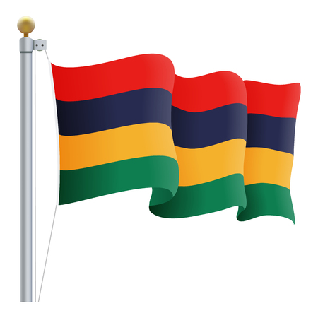 british culture: Waving Mauritius Flag Isolated On A White Background. Vector Illustration. Official Colors And Proportion. Independence Day