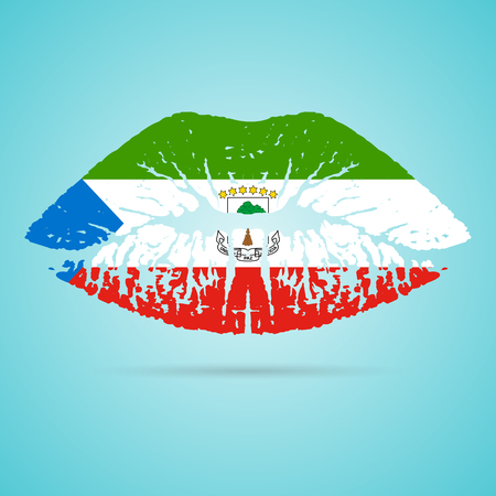 Equatorial Guinea Flag Lipstick On The Lips Isolated On A White Background. Vector Illustration. Kiss Mark In Official Colors And Proportions. Independence Day