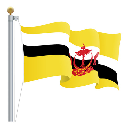 Waving Brunei Flag Isolated On A White Background. Vector Illustration. Official Colors And Proportion. Independence Day Stock Photo