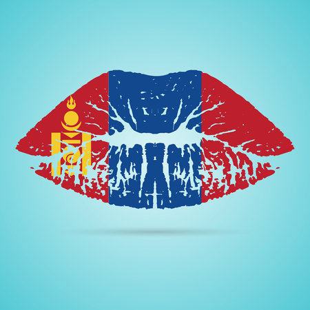 Mongolia Flag Lipstick On The Lips Isolated On A White Background. Vector Illustration. Kiss Mark In Official Colors And Proportions. Independence Day