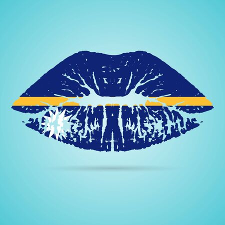 Nauru Flag Lipstick On The Lips Isolated On A White Background. Vector Illustration. Kiss Mark In Official Colors And Proportions. Independence Day