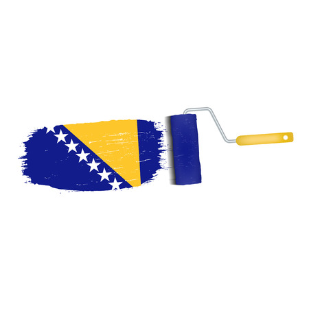 national geographic: Brush Stroke With Bosnia And Herzegovina National Flag Isolated On A White Background. Vector Illustration. National Flag In Grungy Style. Brushstroke. Use For Brochures, Printed Materials, Logos, Independence Day Illustration