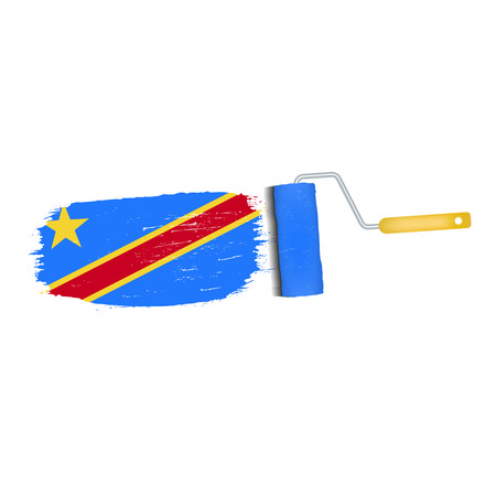 Brush stroke of Democratic Republic of the Congo national flag icon. Illustration