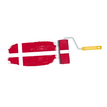 덴마크 국기 아이콘의 브러쉬 스트로크입니다.