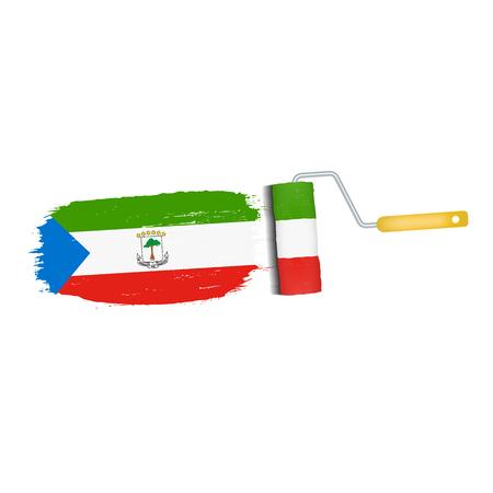Brush stroke of Equatorial Guinea national flag icon.