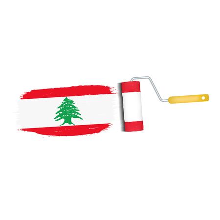 Brush stroke of Lebanon national flag icon.