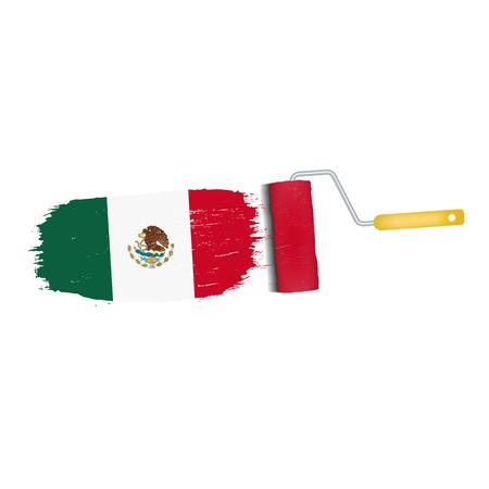 Brush stroke of Mexico national flag icon.