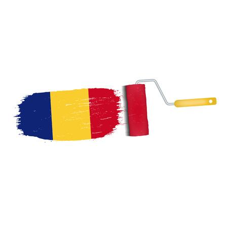 Brush stroke of Romania national flag icon. Illustration