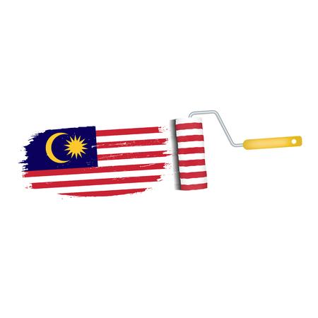 マレーシア国旗アイコンのブラシ ストローク。