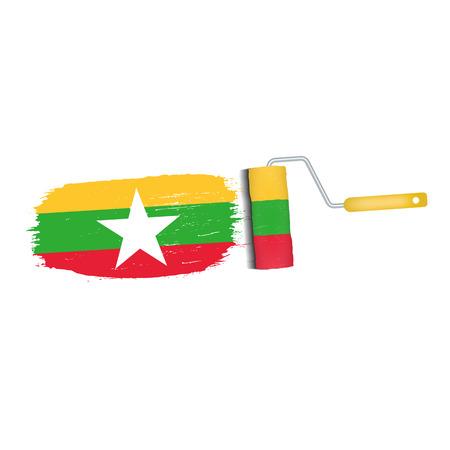 Brush stroke of Myanmar national flag icon.