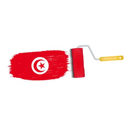 Brush stroke of Tunisia national flag icon.