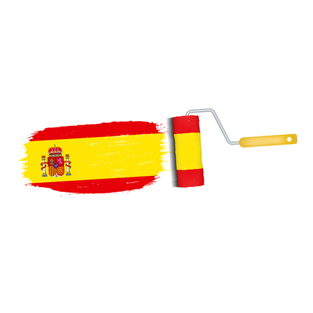 Brush Stroke With Spain National Flag Isolated On A White Background. Vector Illustration. National Flag In Grungy Style. Brushstroke. Use For Brochures, Printed Materials, Logos, Independence Day