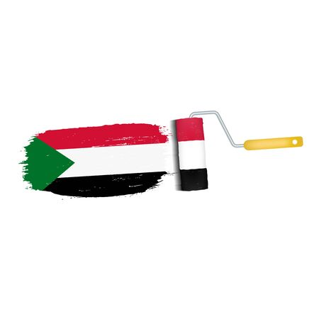 Brush Stroke With Sudan National Flag Isolated On A White Background. Vector Illustration. National Flag In Grungy Style. Brushstroke. Use For Brochures, Printed Materials, Logos, Independence Day Stock Photo