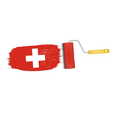 Brush Stroke With Switzerland National Flag Isolated On A White Background. Vector Illustration. National Flag In Grungy Style. Brushstroke. Use For Brochures, Printed Materials, Logos, Independence Day Stock Photo