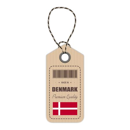 Hang Tag Made In Denmark With Flag Icon Isolated On A White Background. Vector Illustration. Made In Badge. Business Concept. Buy products made in Denmark. Use For Brochures, Printed Materials, Logos, Independence Day Illustration
