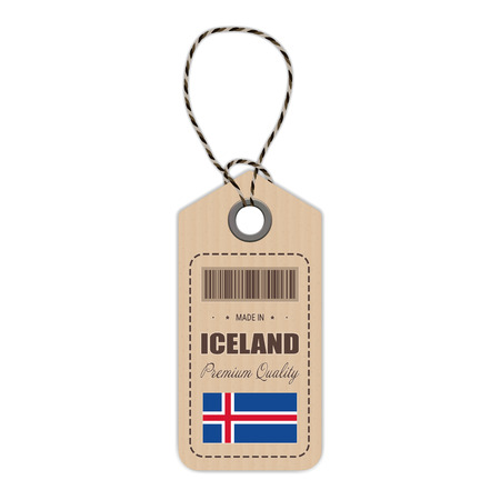 Hang Tag Made In Iceland With Flag Icon Isolated On A White Background. Vector Illustration. Made In Badge. Business Concept. Buy products made in Iceland. Use For Brochures, Printed Materials, Logos, Independence Day Illustration